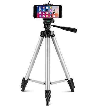 Kossto- Adjustable Aluminium Alloy Tripod Stand Holder for Mobile Phones & Camera, 360 mm -1050 mm, 1/4 inch Screw + Mobile Holder Bracket