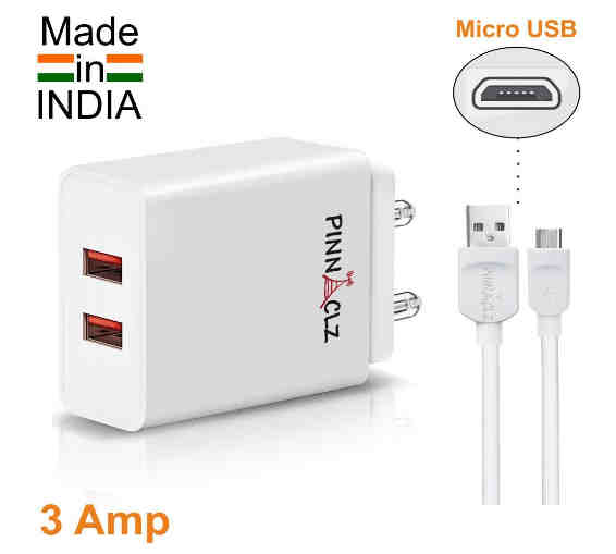 Pinnaclz 3A charger Made in India Multi-Port Universal dual USB Charger