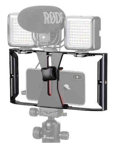 4. NEOHOOK Video Camera Cage Stabilizer Film Making Rig for All Smart Phones Video Rig Mobile Phone Holder Hand Grip Bracket Holder Stabilizer - Black