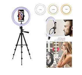 Praxan SQ636 Portable & Lightweight Big LED Ring Light with 3 Coloring Brightness Level for Video Shooting | Photo-Shoot | You-Tube | Blog's & Many More Compatible All Mobiles & Camera(Multi-Color)