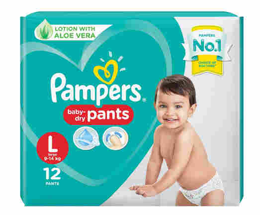 Pampers All round Protection Pants, Large size baby diapers (LG), 12 Count, Anti Rash diapers, Lotion with Aloe Vera