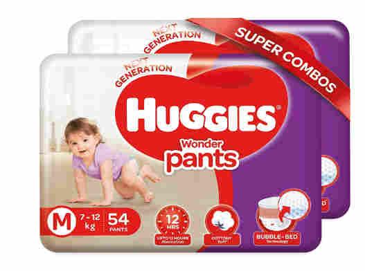 Huggies Wonder Pants, Medium Size Diapers (7 - 12 kg), Combo Pack of 2, 54 Counts Per Pack, 108 Counts